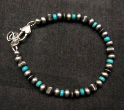 Navajo Hand Finished Sterling Silver & Turquoise Bead Bracelet 7-8 inch long