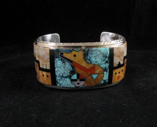 Image 0 of Native American Gilbert Calavaza Zuni Inlay Bear Pueblo Bracelet