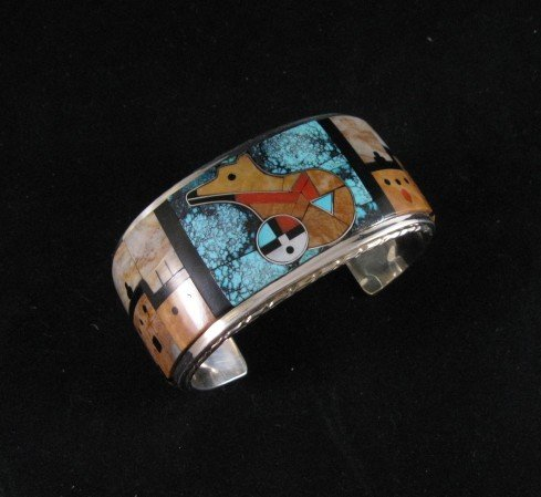 Image 1 of Native American Gilbert Calavaza Zuni Inlay Bear Pueblo Bracelet
