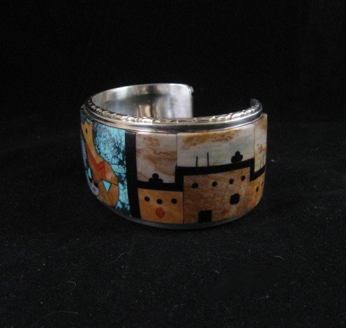 Image 3 of Native American Gilbert Calavaza Zuni Inlay Bear Pueblo Bracelet