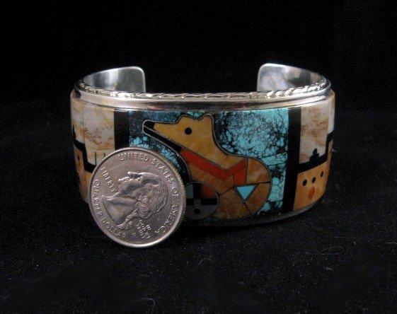 Image 5 of Native American Gilbert Calavaza Zuni Inlay Bear Pueblo Bracelet