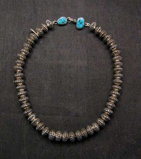 Image 0 of Orville Tsinnie Navajo Handmade Sterling Silver Stamped Fluted Bead Necklace
