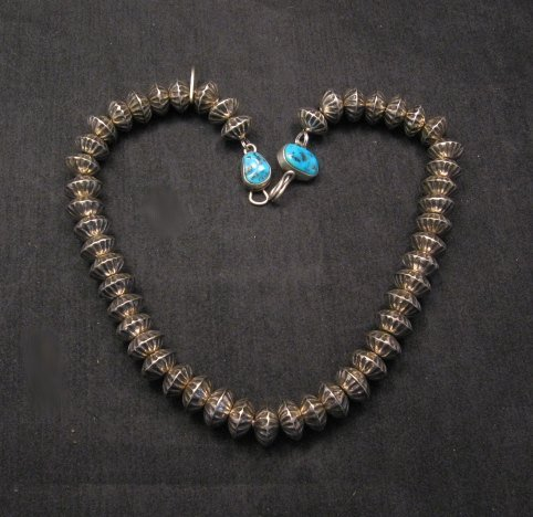 Image 1 of Orville Tsinnie Navajo Handmade Sterling Silver Stamped Fluted Bead Necklace