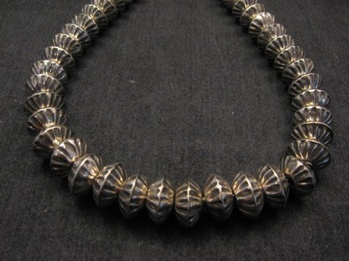 Image 2 of Orville Tsinnie Navajo Handmade Sterling Silver Stamped Fluted Bead Necklace