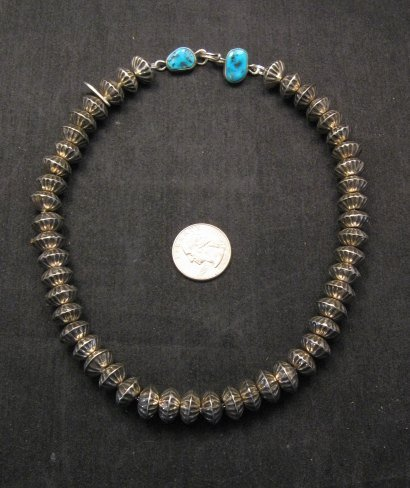 Image 5 of Orville Tsinnie Navajo Handmade Sterling Silver Stamped Fluted Bead Necklace