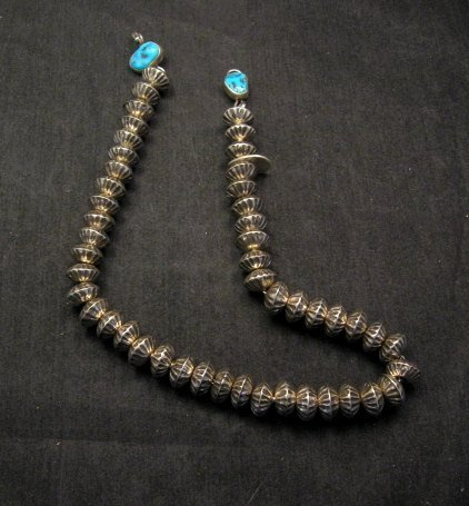 Image 8 of Orville Tsinnie Navajo Handmade Sterling Silver Stamped Fluted Bead Necklace