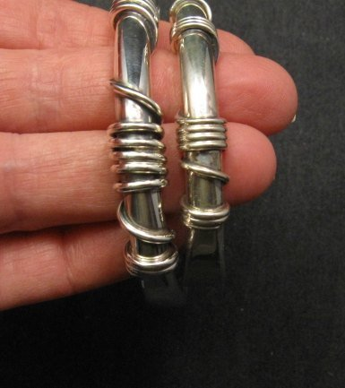 Image 4 of Heavy Navajo Orville Tsinnie Sterling Silver Wire Wrap Bracelet, Ex-Large