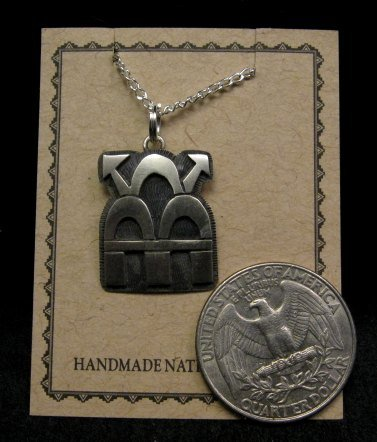 Image 1 of Hopi Indian Sterling Silver Thunderclouds Pendant Necklace, Duane Tawahongva