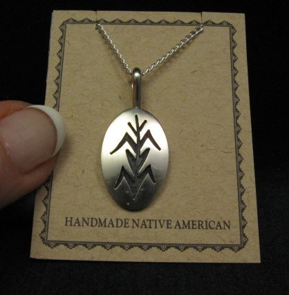 Image 0 of Hopi Native American Sterling Corn Plant Pendant Necklace, Duane Tawahongva