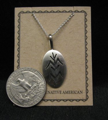Image 1 of Hopi Native American Sterling Corn Plant Pendant Necklace, Duane Tawahongva