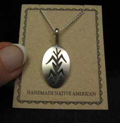 Hopi Native American Sterling Corn Plant Pendant Necklace, Duane Tawahongva