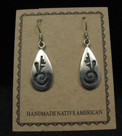 Image 0 of Hopi Indian Handmade Sterling Silver Earrings, Leon Lomakema