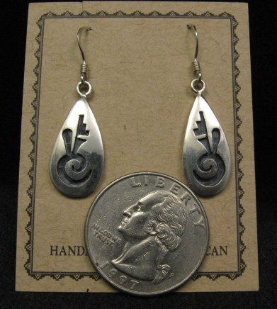 Image 1 of Hopi Indian Handmade Sterling Silver Earrings, Leon Lomakema