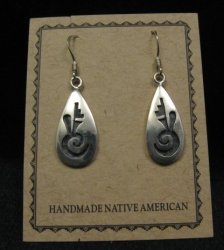Hopi Indian Handmade Sterling Silver Earrings, Leon Lomakema