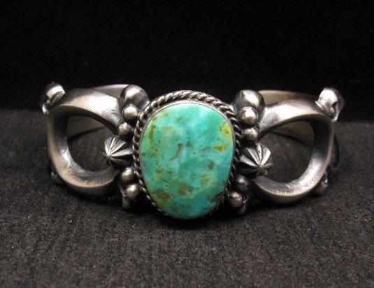 Image 0 of Navajo Native American Sandcast Turquoise Silver Bracelet, Harrison Bitsue