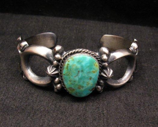 Image 1 of Navajo Native American Sandcast Turquoise Silver Bracelet, Harrison Bitsue