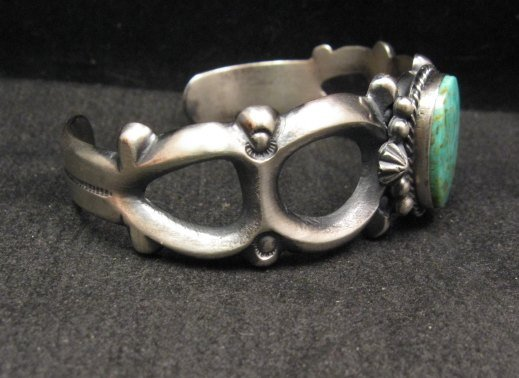 Image 2 of Navajo Native American Sandcast Turquoise Silver Bracelet, Harrison Bitsue