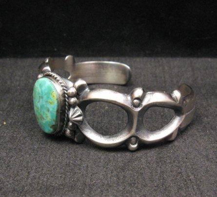Image 3 of Navajo Native American Sandcast Turquoise Silver Bracelet, Harrison Bitsue