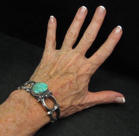 Image 4 of Navajo Native American Sandcast Turquoise Silver Bracelet, Harrison Bitsue
