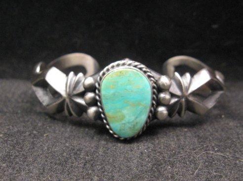 Image 0 of Navajo Native American Turquoise Sandcast Silver Bracelet, Harrison Bitsue