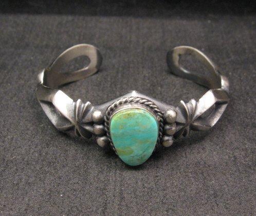 Image 1 of Navajo Native American Turquoise Sandcast Silver Bracelet, Harrison Bitsue