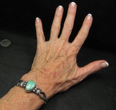 Image 3 of Navajo Native American Turquoise Sandcast Silver Bracelet, Harrison Bitsue