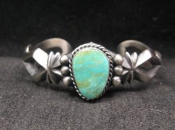 Navajo Native American Turquoise Sandcast Silver Bracelet, Harrison Bitsue