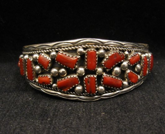 Image 0 of Native American Indian Jewelry Coral Sterling Silver Bracelet
