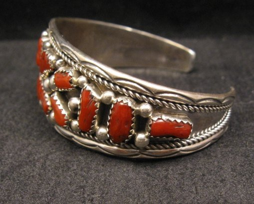 Image 1 of Native American Indian Jewelry Coral Sterling Silver Bracelet