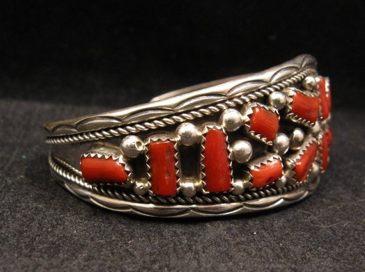 Image 2 of Native American Indian Jewelry Coral Sterling Silver Bracelet