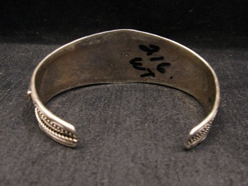 Image 4 of Native American Indian Jewelry Coral Sterling Silver Bracelet