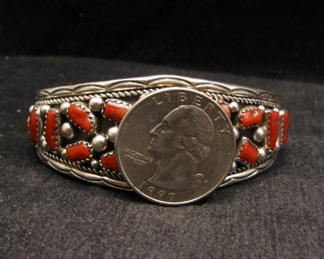 Image 5 of Native American Indian Jewelry Coral Sterling Silver Bracelet