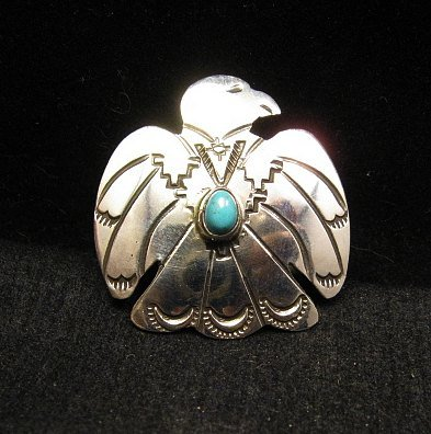 Image 0 of Navajo Native American Silver Turquoise Eagle Pin / Pendant