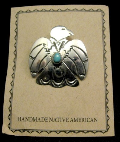 Image 1 of Navajo Native American Silver Turquoise Eagle Pin / Pendant