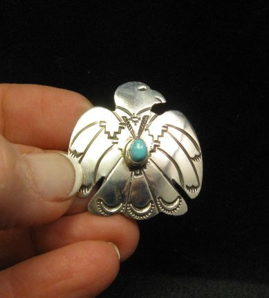 Image 4 of Navajo Native American Silver Turquoise Eagle Pin / Pendant
