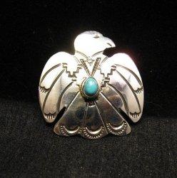 Navajo Native American Silver Turquoise Eagle Pin / Pendant