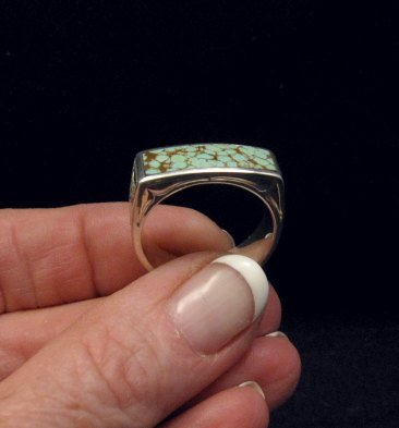 Image 0 of Shane Hendren Navajo #8 Turquoise Engraved Sterling Silver Ring sz10-1/2