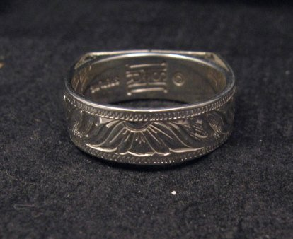 Image 3 of Shane Hendren Navajo #8 Turquoise Engraved Sterling Silver Ring sz10-1/2