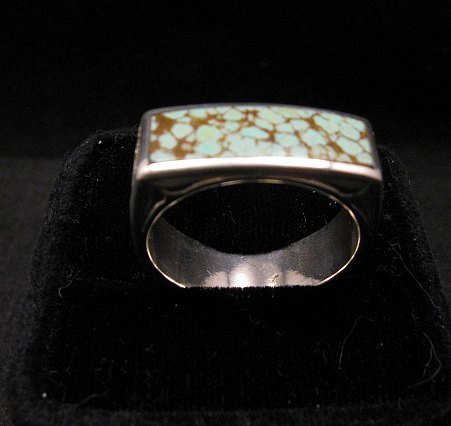 Image 6 of Shane Hendren Navajo #8 Turquoise Engraved Sterling Silver Ring sz10-1/2