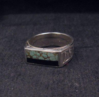 Image 1 of Shane Hendren Navajo #8 Turquoise & Jet Engraved Sterling Silver Ring sz8-1/2