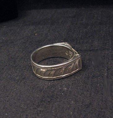 Image 3 of Shane Hendren Navajo #8 Turquoise & Jet Engraved Sterling Silver Ring sz8-1/2