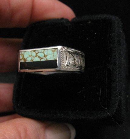 Image 4 of Shane Hendren Navajo #8 Turquoise & Jet Engraved Sterling Silver Ring sz8-1/2