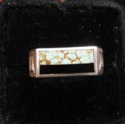 Shane Hendren Navajo #8 Turquoise & Jet Engraved Sterling Silver Ring sz8-1/2