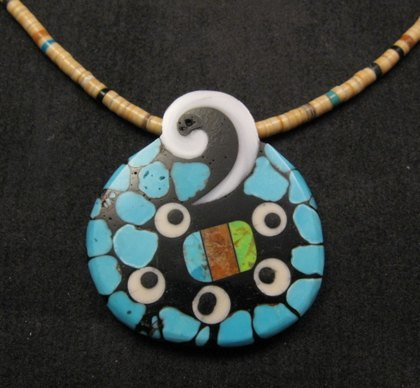Image 1 of Santo Domingo Mosaic Inlaid Necklace by Mary Tafoya