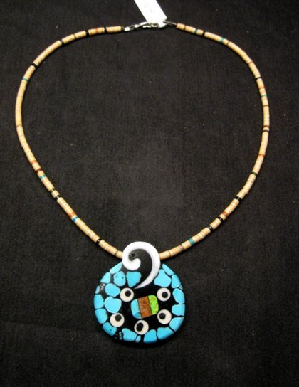 Image 2 of Santo Domingo Mosaic Inlaid Necklace by Mary Tafoya