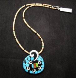 Santo Domingo Mosaic Inlaid Necklace by Mary Tafoya