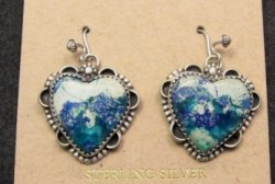 Navajo Native American Balboa Blue Heart Sterling Silver Earrings