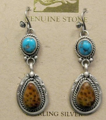 Image 0 of Navajo Indian Turquoise Petrified Palm Wood Earrings, Martha Willeto