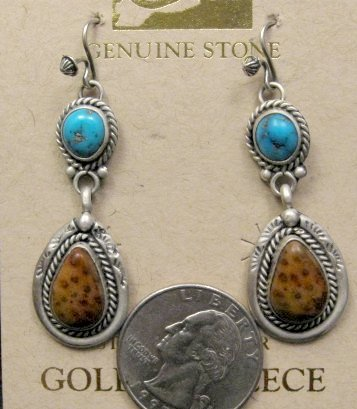 Image 1 of Navajo Indian Turquoise Petrified Palm Wood Earrings, Martha Willeto