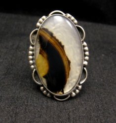 Native American Navajo Montana Agate Sterling Silver Ring sz6-1/2 to 7-1/2
